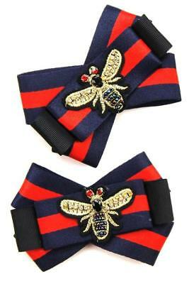 Designer Inspired Red Navy Red Bow Tie Strap Shoe Patches With Bee Detail