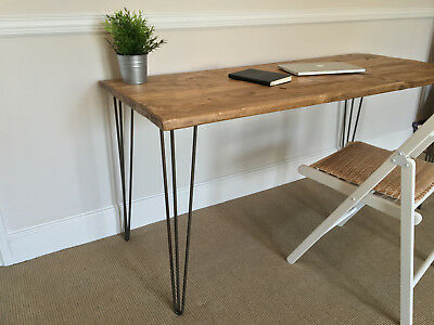 Rustic Wood Desk Table 120cm Wide Made From Scaffold Boards & Steel Hairpin Legs