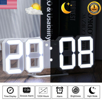 Digital 3D Large LED Wall Clock Alarm Clock Snooze 12/24 Hour USB Charge Modern