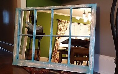 VINTAGE SASH ANTIQUE WOOD WINDOW RUSTIC FRAME 8 PANE UNIQUE PAINT *with mirrors*