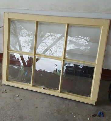 Vintage Sash Antique Wood Window Rustic Frame Beige Cream 6 Pane 28X36