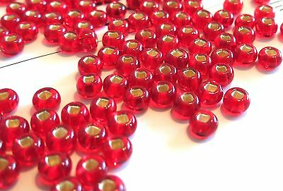 "50) 5/32"" RED Silver-Lined Seed Beads 4mm (for hook sizes 12, 10, 8) fly tying"
