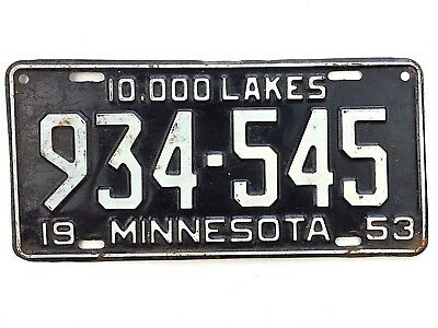 Minnesota 1953 Old License Plate Garage Vtg Tag 10000 Lakes Auto 50s Diner Decor