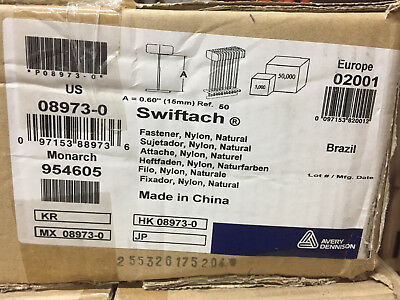 "(85,000) Avery Dennison 08973 .6"" Swiftach Natural Nylon Fastener monarch 954605"