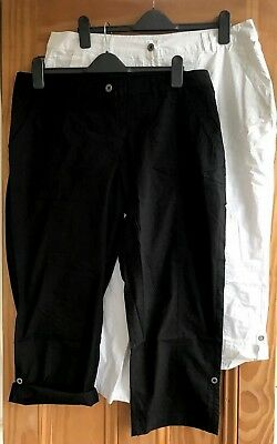 Ladies New Plus Size Black White Turn-Up Cotton Cropped Trousers Size 16 - 32