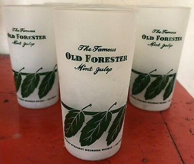 Mint Vintage 1960 Old Forester Bourbon Whiskey Mint Julep Glasses (5) Never Used