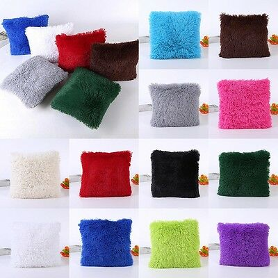Soft Fur Plush Square Throw Pillow Cases Home Decor Sofa Waist Cushion Cover New