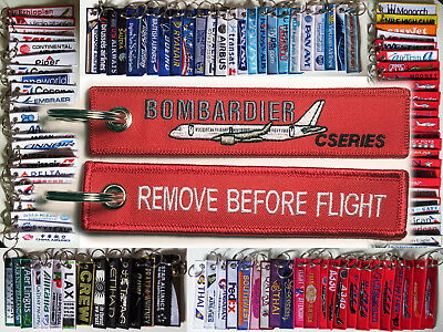 Keyring Bombardier CSERIES CS100 CS300 tag Remove Before Flight for Pilots GREY