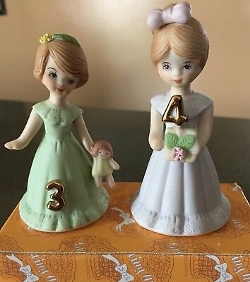 Vintage 1982 Growing Up Year 3 AND Year 4 Birthday Girl Porcelain Figurine