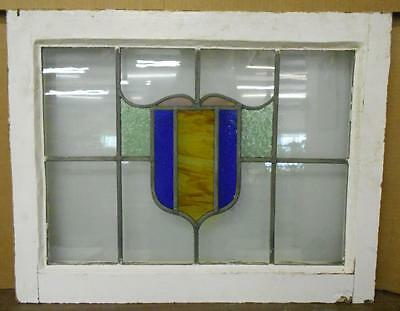 "MID SIZED OLD ENGLISH LEADED STAINED GLASS WINDOW Colorful Abstract 27.75"" x 22"