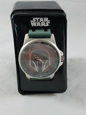 Star Wars Boba Fett Watch w/Collectible Tin Box,Green Silicone Band Disney NIP