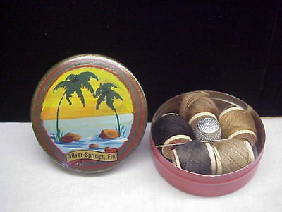 Vintage Silver Springs, Florida Unused Sewing Souvenir Tin