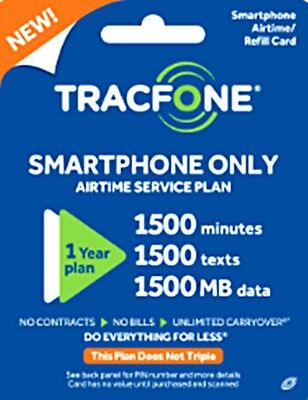 TracFone 1 Year Plan +1500 minutes talk 1500 text and 1500 Data