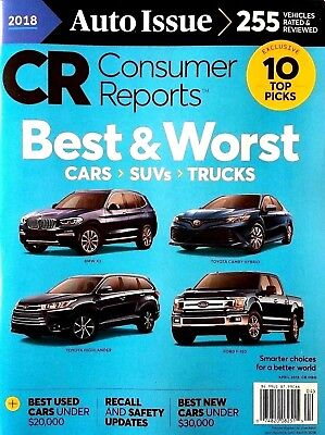 Consumer Reports Cars Suvs Trucks Best And Worst Auto Issue 10 Picks 2018 New