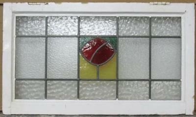 "OLD ENGLISH LEADED STAINED GLASS WINDOW TRANSOM Abstract Center 30"" x 17.25"""