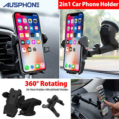 Universal 360° Windshield Mount Car Holder Cradle For GPS Mobile Smart Phone AU