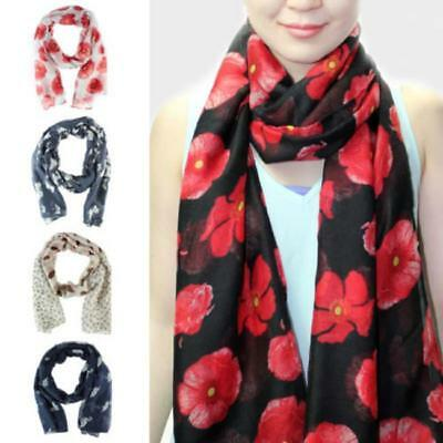 Women Ladies Poppy Print Floral Scarf Remembrance Poppies Scarves Wrap Shawl LG