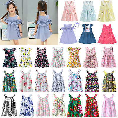 Baby Kids Girls Dress Toddler Princess Party Tutu Summer Floral Dress Cute Lot
