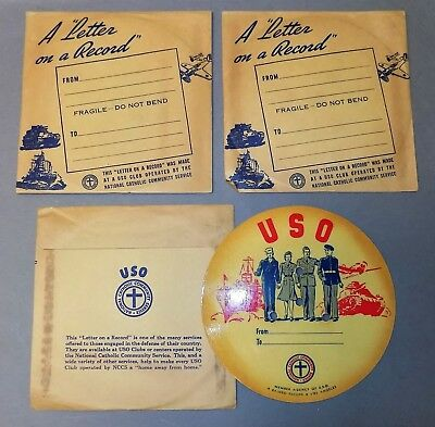 Three unused LETTER ON A RECORD two sealed 1940's USO WWII military war graphics