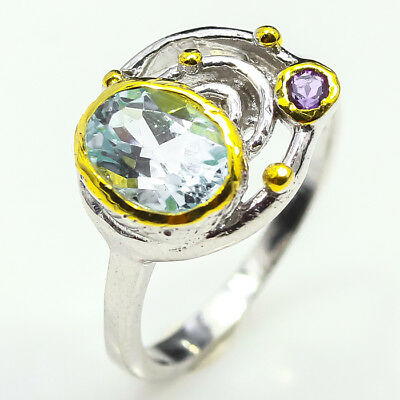 Fineart 8x6mm. Natural Blue Topaz 925 Sterling Silver Ring / RVS15