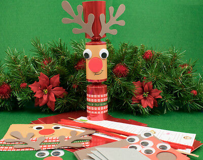 4 Red Foil Standy Uppy Red Nose Rudolph Reindeer DIY Christmas Crackers Kit