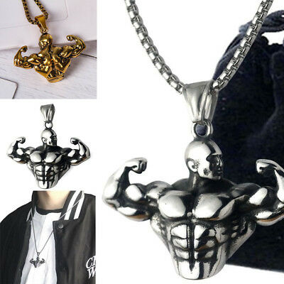 Muscle Man Bodybuilder Dumbbell Pendant Necklace Sports Fitness GYM Jewelry