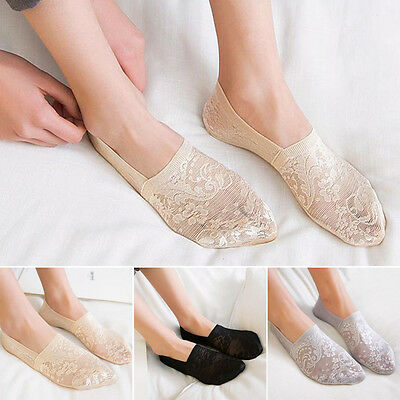 Women Summer Antiskid Invisible  Loafer Lace Boat Liner Low Cut Cotton Socks New