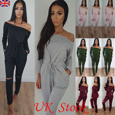 UK Womens One Shoulder Ripped Jumpsuit Ladies Evening Party Playsuit Size 6 - 16