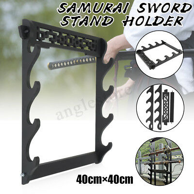 4 Tier Sword Holder Wall Mount Samurai Stand Display Katana Bracket Rack Decor