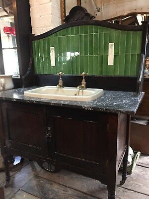 Beautiful Victorian Tiled Back Washstand With Useable Sink