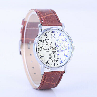 Fashion Men's Women's Watches Dial Big Leather Strap Quartz Analog Wrist Watch