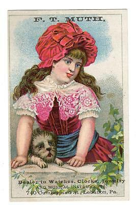 Lebanon Pa*muth*watches Clocks Jewelry Musical Instruments*girl & Dog*trade Card