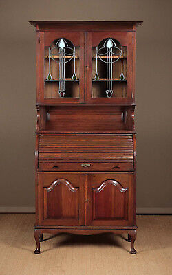 Antique Arts & Crafts Style Oak Bureau Bookcase c.1910.