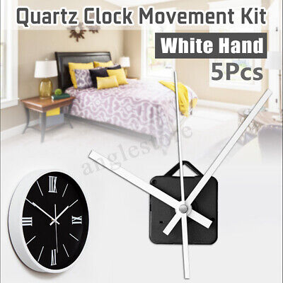 5Pcs DIY White Hands Wall Quartz Clock Mechanism Movement Repair Parts Kits Gift