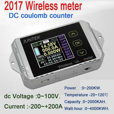 200A wireless DC volt AMP power meter Battery Monitor capacity Coulomb counter