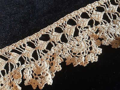 """Antique Crochet Lace Trim Edging Fancy French Dolls Clothing Costume 12"""""""
