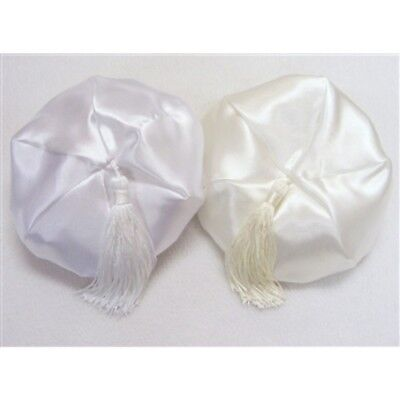 Baby Boys Christening Special Occasion Tasselled Satin Hat Cap Ivory or White