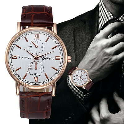 Fashion Mens Watches Leather Stainless Steel Military Analog Quartz Wrist Watch