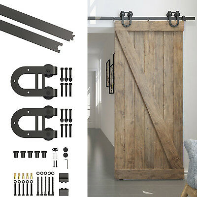 6.6FT Sliding Wood Barn Door Hardware Track Kit Set Carbon Steel U Shape Roller