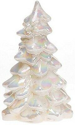 """Christmas Holiday Tree Mother of Pearl Milk Carnival Glass - Mosser USA Large 8"""""""