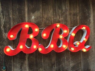 Large Retro Metal Marquee LIt Sign - BBQ- Smokey Red - Restaurant-