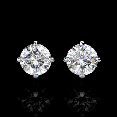 1.00Ct Brilliant Round Created Diamond Screw Back Stud Earrings 14K White Gold