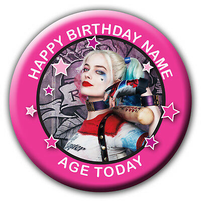Personalised Harley Quinn Suicide Squad  Birthday Badge / Fridge Magnet / Mirror