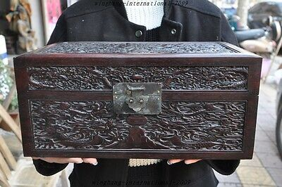 Rare old chinese Black Rosewood hand-carved 9 dragon Storage box Treasure boxes