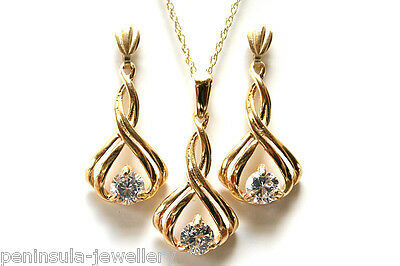 9ct Gold Fancy CZ Pendant and Drop Earring Set Gift Boxed Made in UK