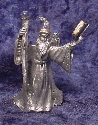 Pewter WIZARD with Magic Book, Staff & Owl - Crystal Accents