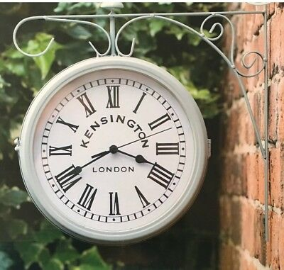 New Kensington London Garden Outdoor Hanging Station Grey Clock
