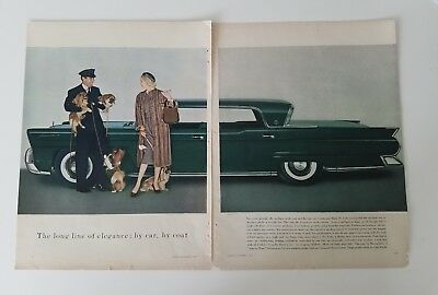 1957 green Lincoln Continental Mark III car 2 page vintage ad