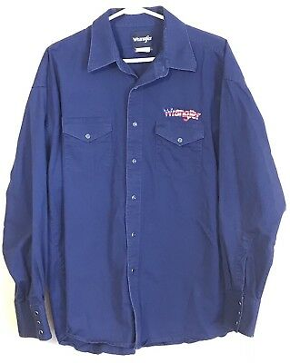 Vintage Wrangler Rodeo Western Embroidered Red White Blue  Pearl Snap Size XL