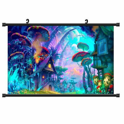 Psychedelic Mushroom Town Poster Picture Silk Cloth Home Wall Decor Art Colorful